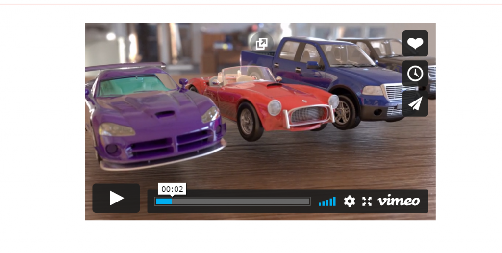 The preview of how a Vimeo video will look in a WordPress site