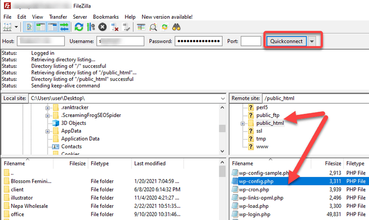 access the wp-config file