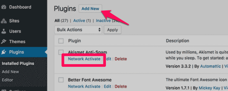 add new plugins and network enable it