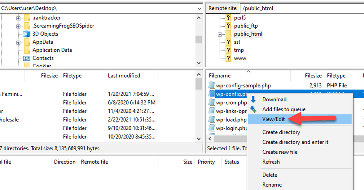 edit the wp-config