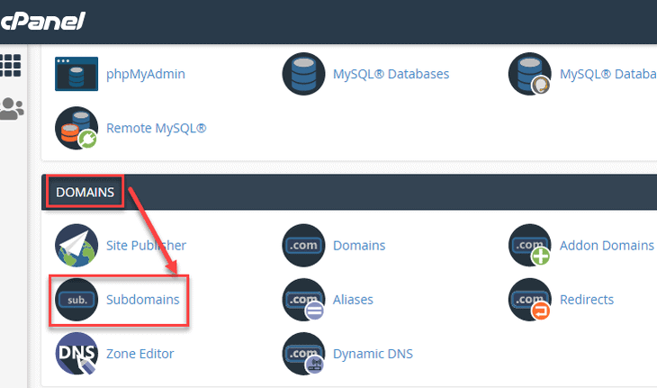 go to the subdomains option on the cPanel