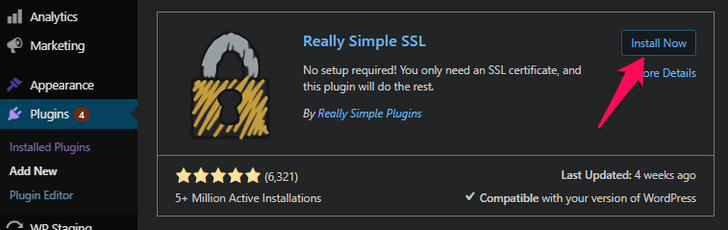 installing and activating really simple SSL plugin
