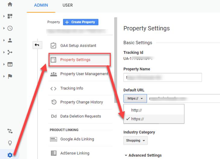 updating Google Analytics property to HTTPS