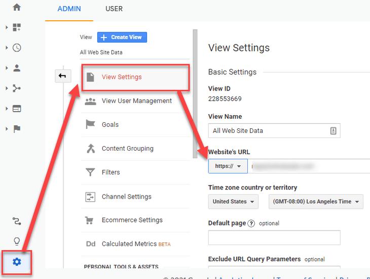 updating Google Analytics view to HTTPS