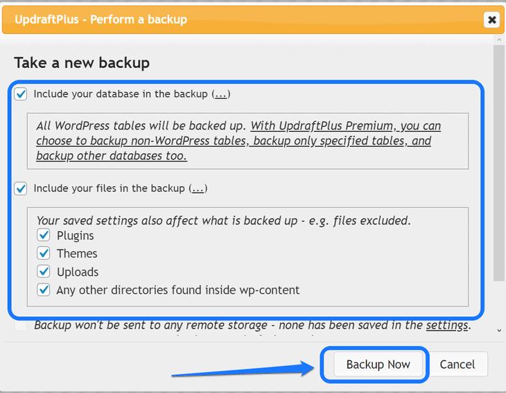 Highlighting the adjustment options of the UpdraftPlus WordPress plugin