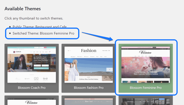 Pointing at the Blossom Feminine Pro theme in the list of Available Themes in Theme Switcha plugin's dashboard