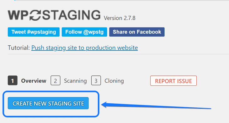 Pointing at the Create New Staging Site button inside the WP Staging plugin's dashboard