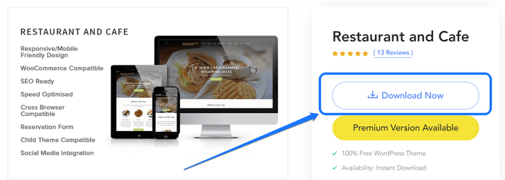 Pointing at the Download Now button of the Restaurant and Cafe plugin's sales page