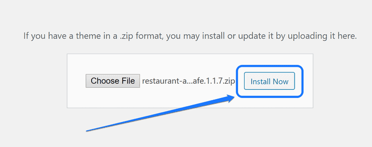 Pointing at the Install Now button after uploading a new theme in WordPress