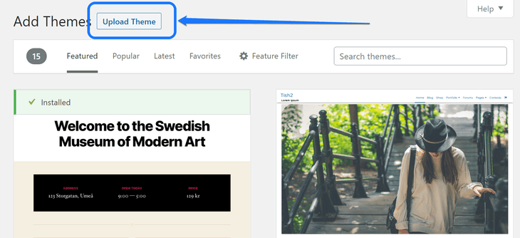 Pointing at the Upload Theme button above the Add Themes page in WordPress