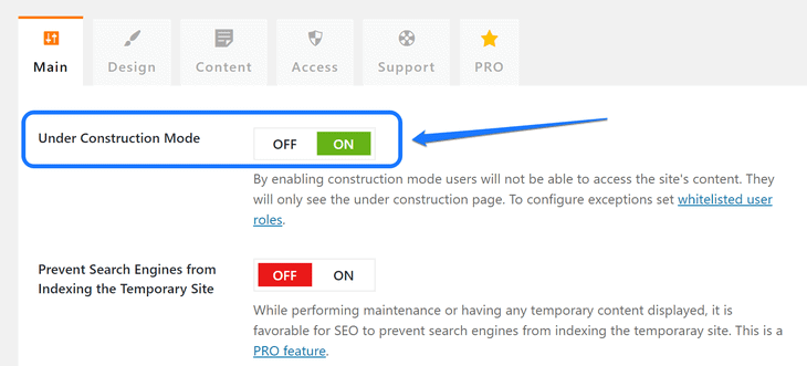 Pointing at the adjustment setting to enable the Under Construction Mode in WordPress
