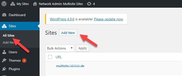 add new site button