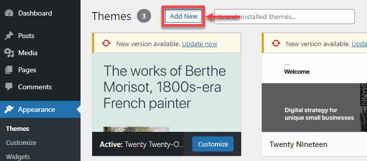 add new theme tab