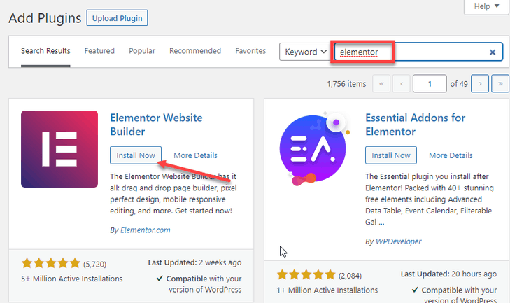 install and activate the Elementor plugin
