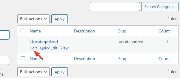 Editing category slug in WordPress