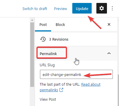 Editing URL slug in individual post