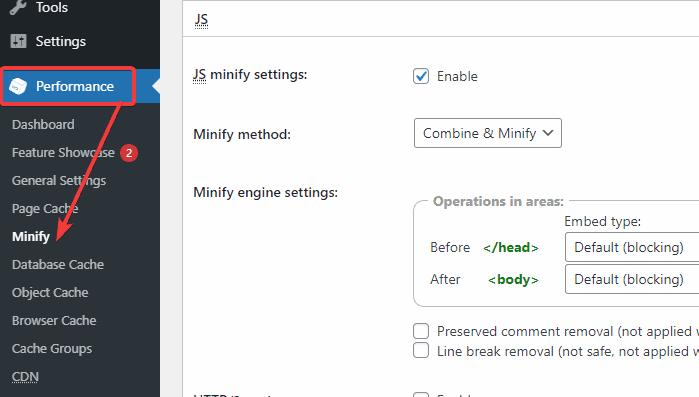 Minify setting options
