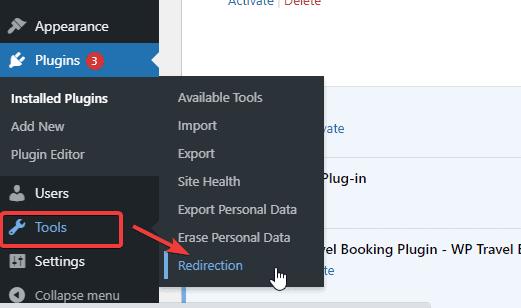 Redirection option on dashboard