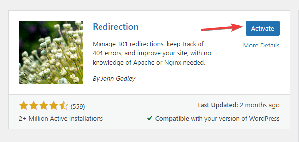 installing and activating redirection plugin in WordPress