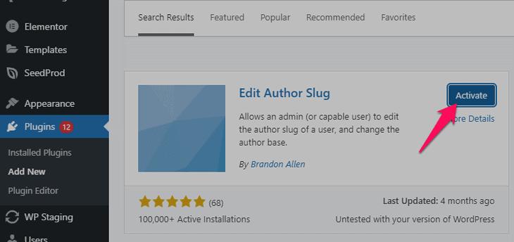 installing and activating the edit author slug plugin