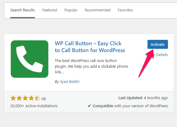 Installing and activating the WP Call Button plugin