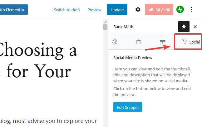 Social tab option in Rank Math