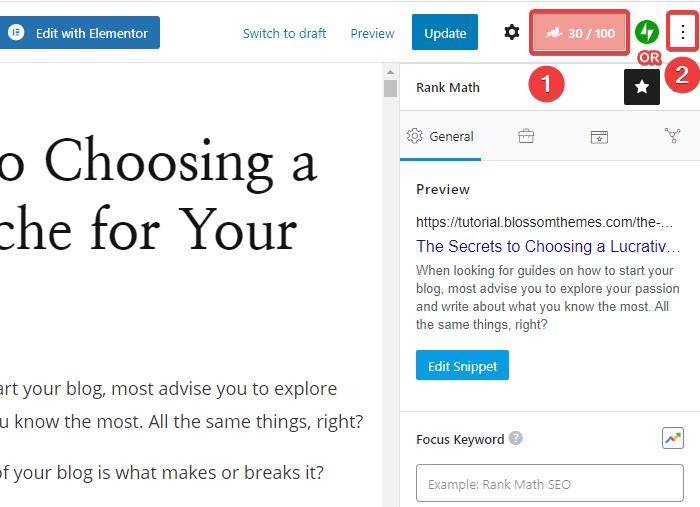 Rank Math option in the sidebar