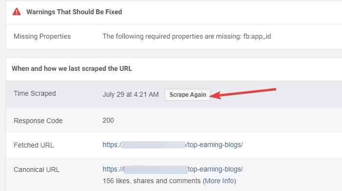 Scrape again option in the debug tool
