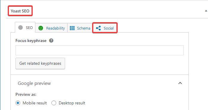 Social tab on Yoast SEO meta box