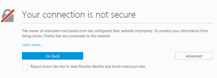 connection error in Mozilla Firefox