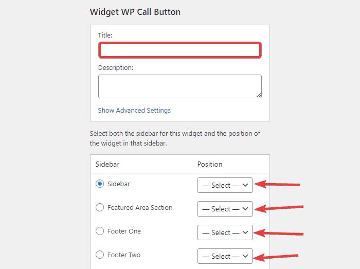 edit the WP Call Button widget