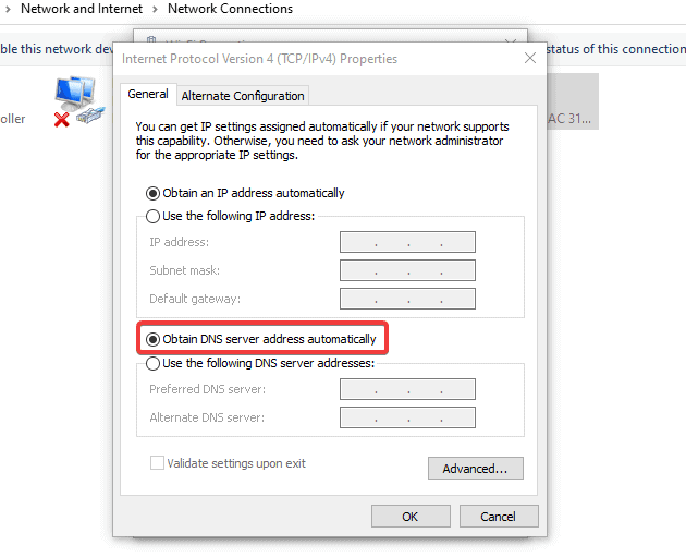enable the obtain DNS automatically