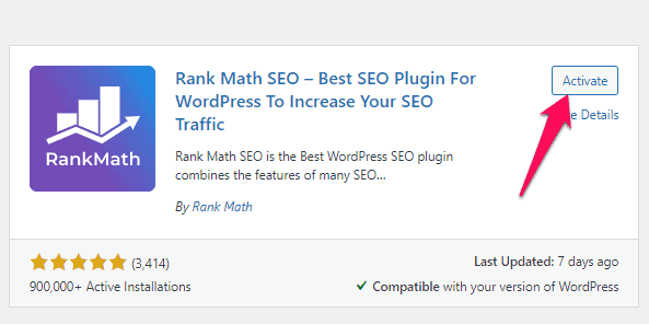installing and activating the Rank Math plugin