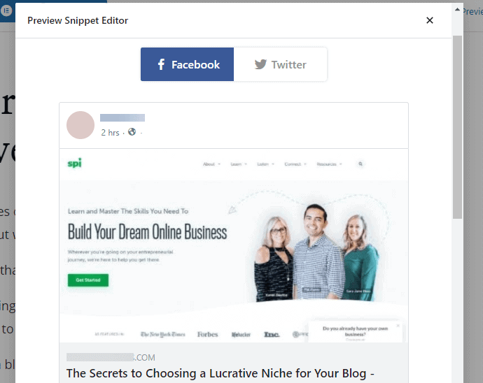 preview of the Facebook thumbnail