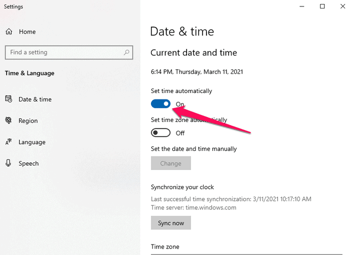 set the date and time automatically in Windows
