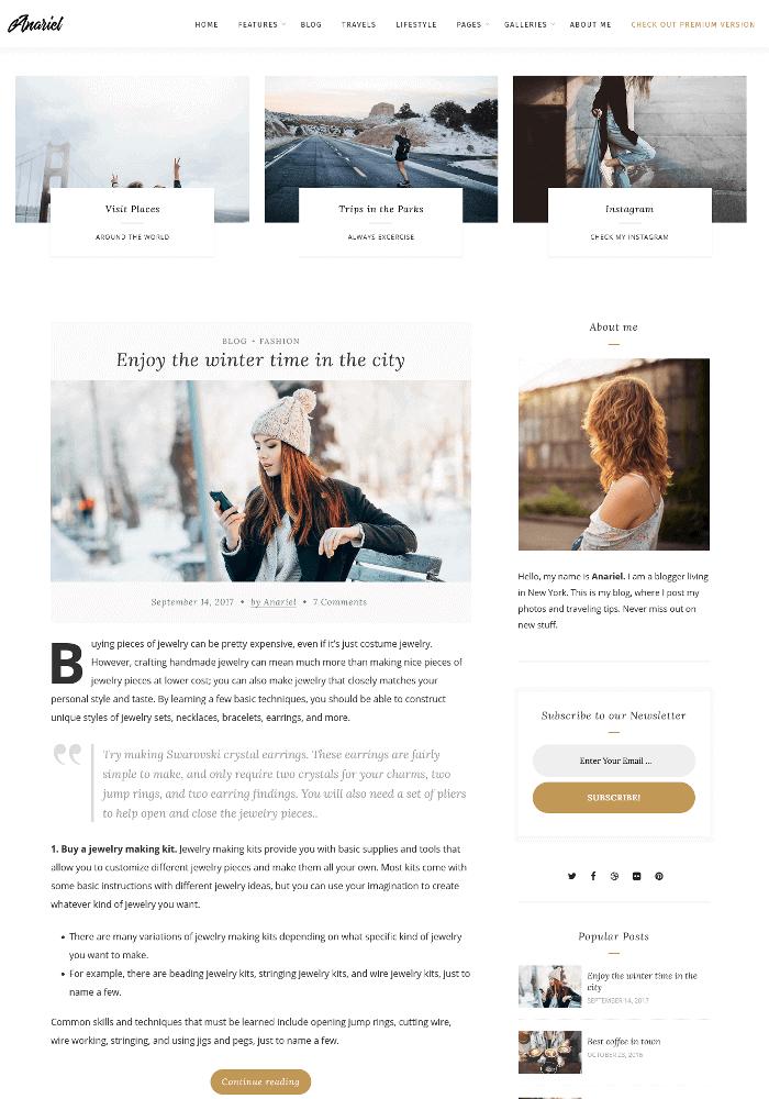 Anariel Lite WordPress Theme