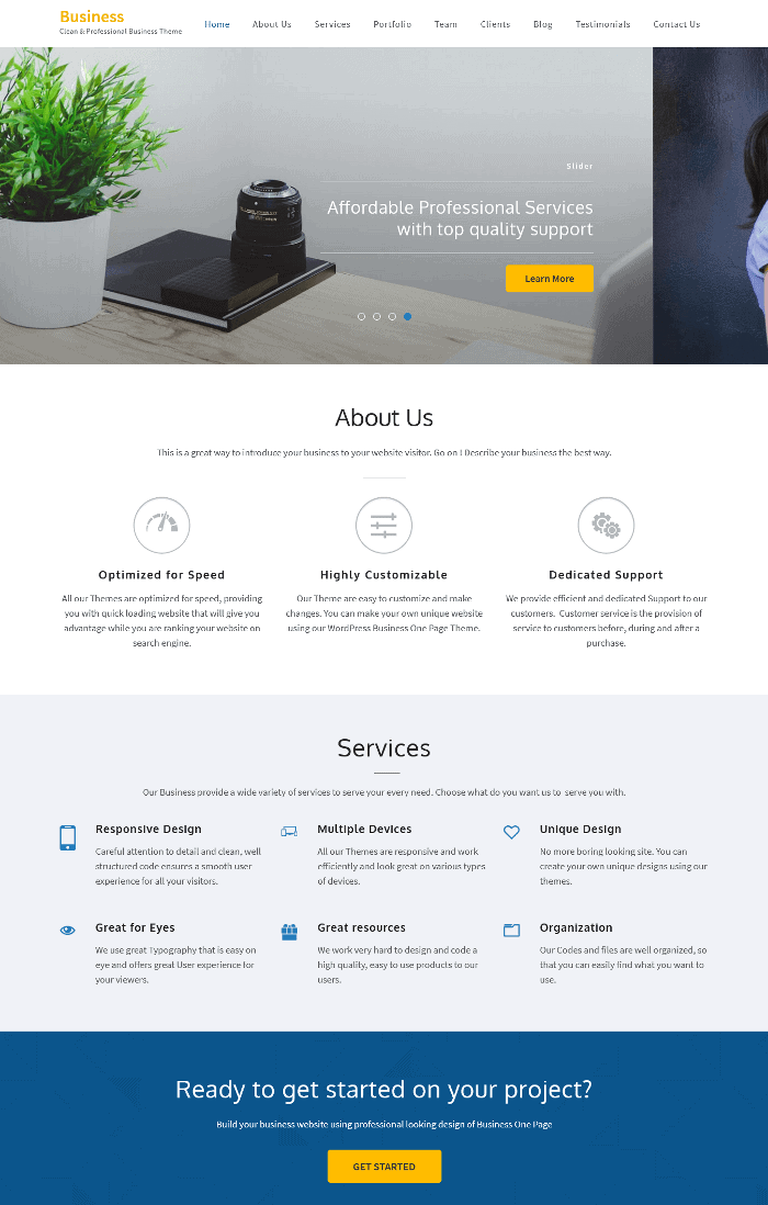 Business One Page WordPress Theme