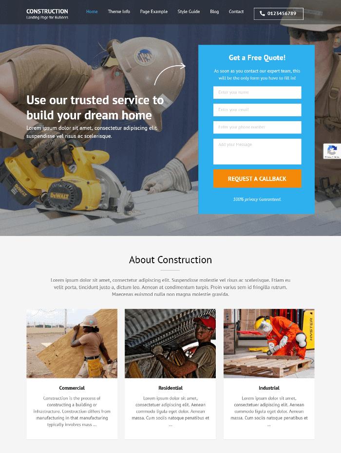 Construction Landing Page WordPress Theme
