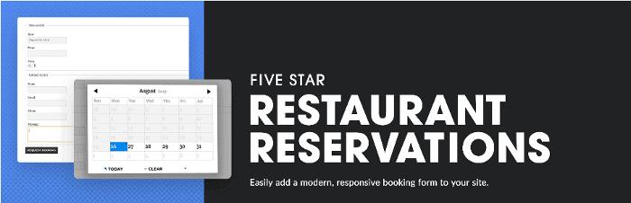 Five Star Restaurant Reservation WordPress Plugin