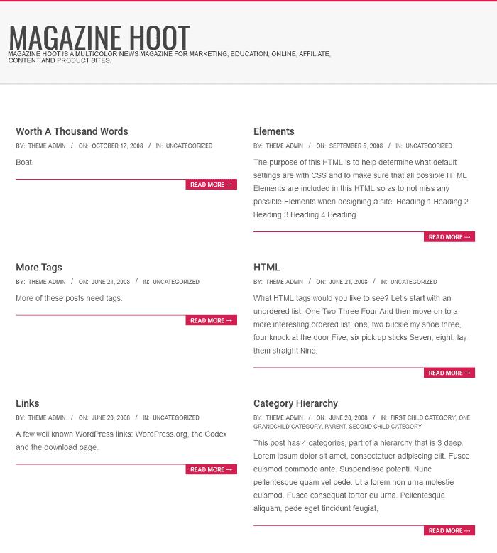 Magazine Hoot WordPress Theme