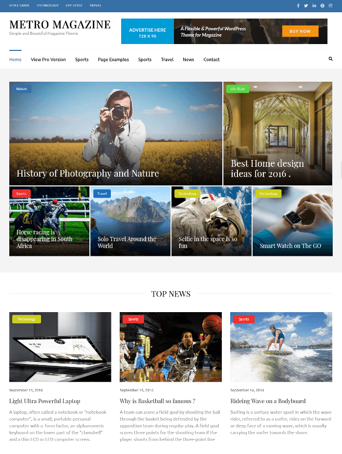 Metro Magazine WordPress Theme