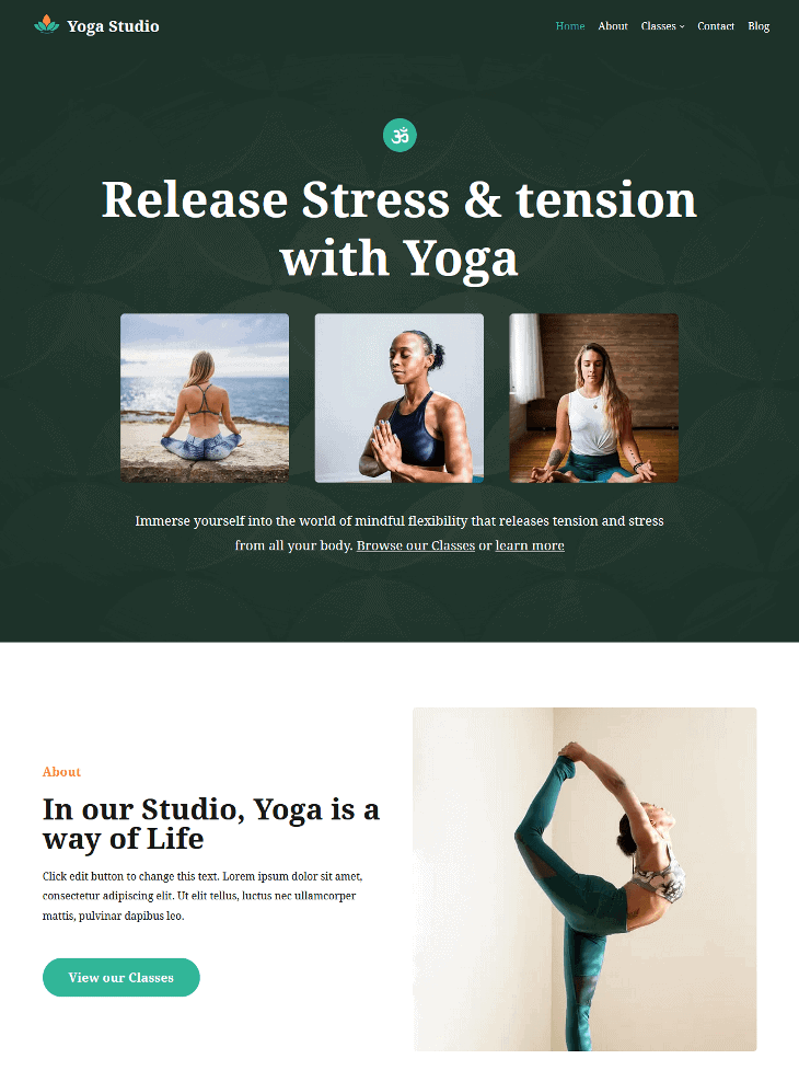 Neve Yoga Studio WordPress Theme