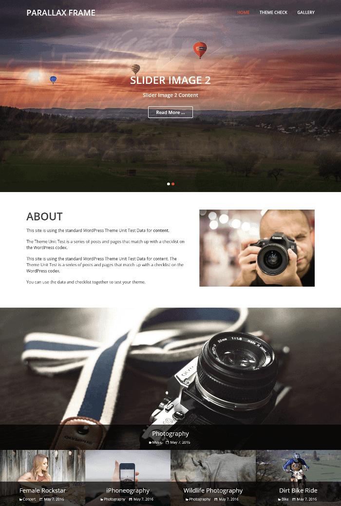 Parallax Frame WordPress Theme
