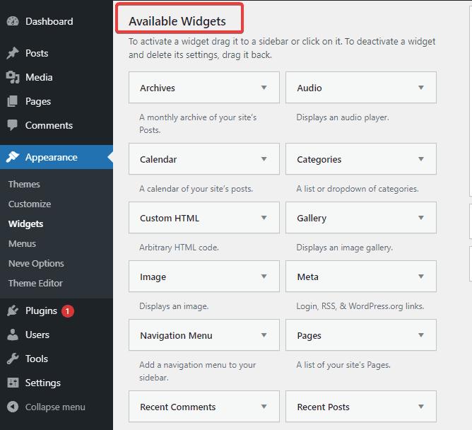built-in widgets in WordPress