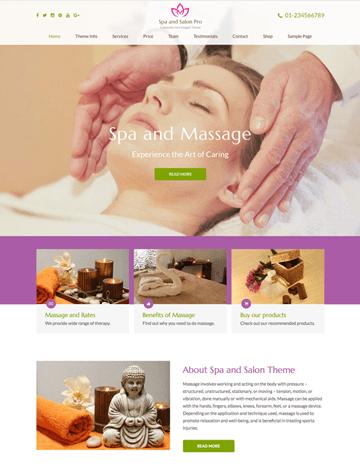 Spa and Salon Pro WordPress theme
