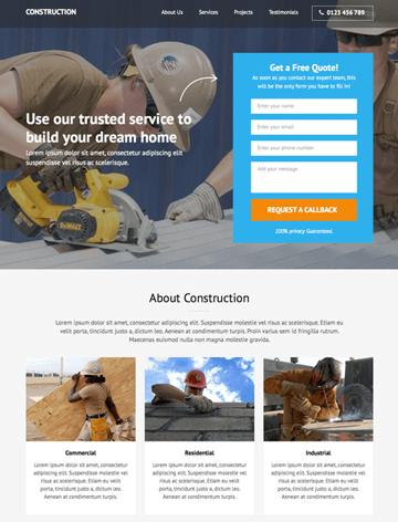 Construction landing page pro WordPress theme