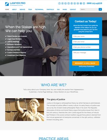 Lawyer landing page pro WordPress Theme