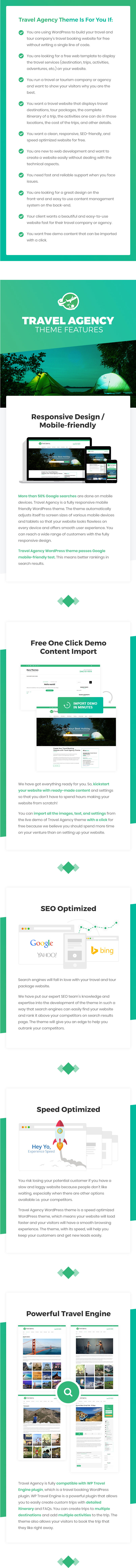 features of Travel Agency WordPress Theme